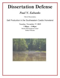 Paul Eubanks dissertation defense flyer