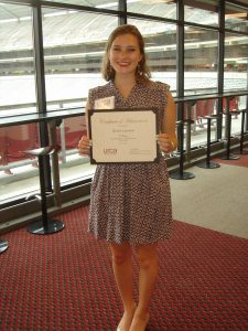 Sierra Lawson, second prize in the oral presentations for Social Sciences, URCA luncheon for URCA winners 4-11-16.