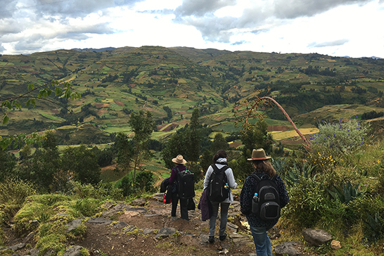three people hiking down a hillside